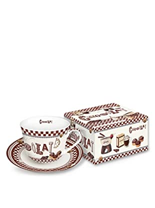 Easy Life Design Tazza Colazione con Piatto in Porcellana Chocolat 400 ml