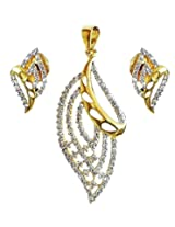 DollsofIndia White Stone Studded Pendant with Chain and Earrings - Stone and Metal - Golden