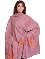Exotic India Tusha Shawl with Sozni Hand-Embroidery on Border - Color LilacColor Free Size