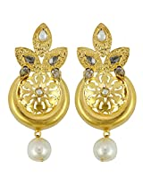 Gehnamart Yellow Gold Plated Pearl Drop Earring