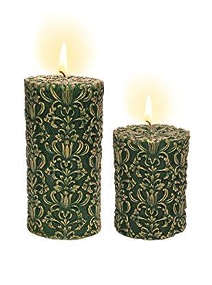 Volcanica Set of 2 Green & Gold Paramount Pillar Candles