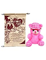 Teddy With Love You Scroll Card
