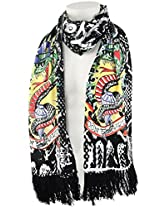 Ed Hardy Womens Snake Knit Scarf -Off White/Black