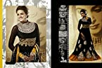Neha Dhupia Black Georgette with Embroidery Work Unstitched Anarkali Salwar Kameez Suit