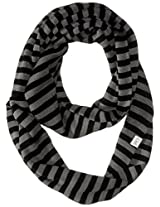 Coal Women's The Jessie Fine-Knit Eternity Scarf with Stripes, Charcoal, One Size