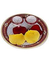 Creative Creations Marble Swastik Pooja Thali ( 20 cm x 20 cm x 6 cm, White )