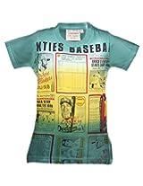 Tonyboy Boy's Cotton Spray Print Green Short Sleeved T-shirt