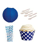 Dress My Cupcake DMC432405 Dessert Table Party Kit with Lanterns and Standard Wrappers, Royal Blue Polka Dots