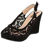 Flat n Heels Women's Black Suede Wedges 8 UK