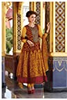 Yellow and Maroon Cotton and Net Anarkali Suit
