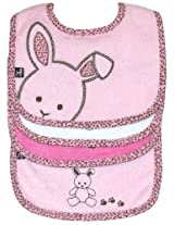 Bib (3 pack) and Burp Cloth (1 pack) Set, Bunny (pink), Frenchie Mini Couture
