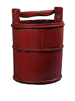 Antique Revival Wooden Soy Sauce Bucket, Red