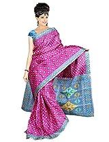 Somya Women's Bhagalpuri Silk Printed Rani Pink Saree