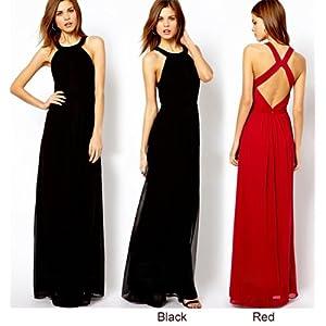 Lady Chiffon Long Maxi Dress Backless Evening party Cocktail Dress