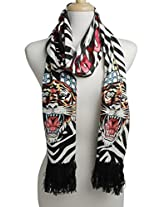 Ed Hardy Womens Flag Tiger Knit Scarf -Oyster/Black