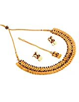 Megh Craft New Fashion Wear Gold Plated Ginni Necklace Set One Gram Gold Jewellery for Women