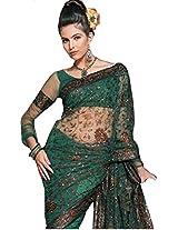 Unique Green Party Wear Saree Indian Designer Fancy Net Bollywood Sari