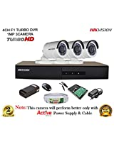 HIKVISION 4CH- DS-7204HGHI-E1-Turbo-HD-720P-DVR + HIKVISION DS-2CE16C2T-IR TURBO BULLET CAMERA 3pcs + 500GB WD HDD + CABLE 3+1 COPPER + POWER SUPPLY (FULL COMBO)