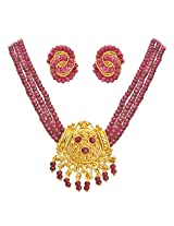 Surat Diamonds 3 Line Real Ruby Beads & Gold Plated Pendant Necklace & Earring Set for Women (SP398)
