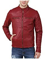 A-ONE Men's Leather Jacket (A1_JK_0012, Red, XL)