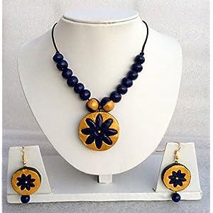 Anikalan Designs Navy blue flower Pendant Terracotta Necklace Set