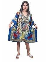Indiatrendzs Women's Caftan Multicoloured Print Short Sexy Nightwear Nighty Dress