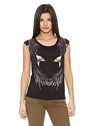 Springfield Camiseta Gráfica Águila Alas (Negro)