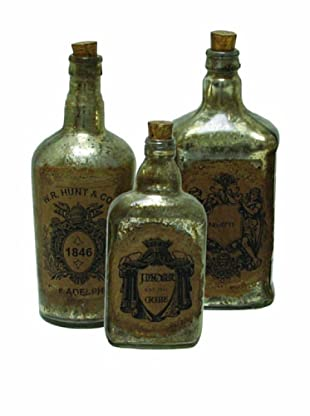 The Import Collection Set of 3 Hunt Co. Glass Bottles, Brown