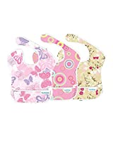 Bumkins S3-G6 Pink Paisley Girl Assortment Superbib Bib 3-pack - Bumkins S3-BUYG
