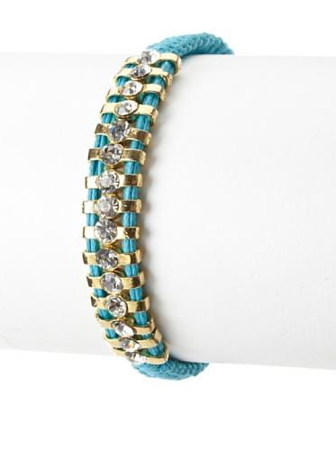 Shashi One Row Original Adjustable Bracelet, Yellow Gold/Turquoise