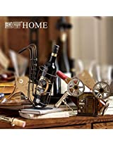1PC vintage iron art wine rack retro luxury handmade wine shelf creative metal wine rack decoration (Sax Style)