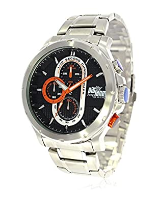 Pit Lane Uhr mit Miyota Uhrwerk Pl-1015-3 silberfarben 45 mm