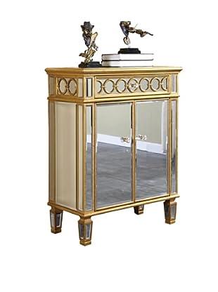 Audrey 2-Door Mirrored Cabinet, Gold Leaf