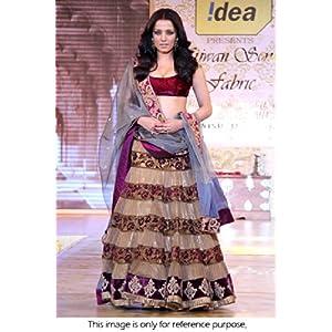 Bollywood Replica Celiena Jaitley Net and Velvet Lehenga In Beige and Purple Colour NC283