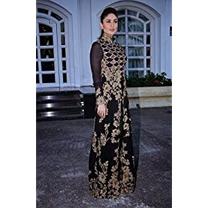 Kareena Kapoor Black And Gold Floor Length Designer Anarkali Suit