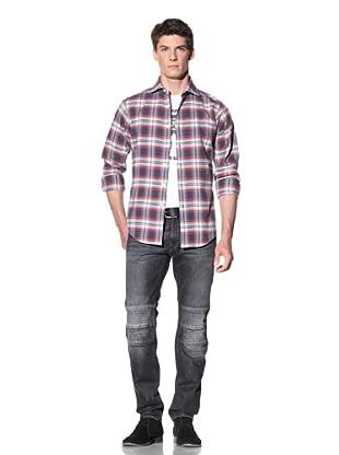 GANT by Michael Bastian Men's Flannel Plaid Spread Collar Shirt (Pewter)