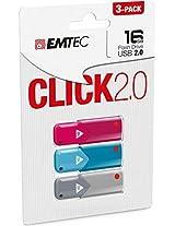 Emtec 8GB USB 2.0 Click Drives, 3-Pack (ECMMD8GB102P3)