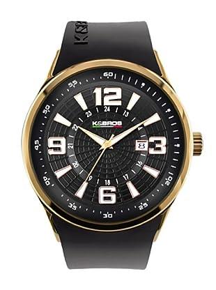 K&BROS 9464-3 / Reloj de Caballero con correa de caucho Negro