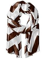 Saro Lifestyle Women's Chevron Design Scarf, Chocolate, One Size