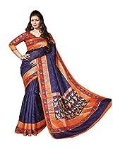 Purple & Orange Colour Faux Bhagalpuri Semi Party Wear Shiny Floral Printed Saree 13320