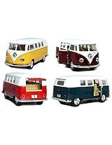 Kinsmart Set of 4: 5 Classic 1962 Volkswagen Van 1:32 Scale (Green/Maroon/Red/Yellow)