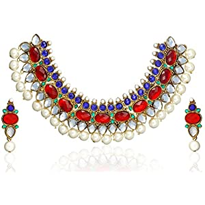 Zaveri Pearls Mughal Pattern Necklace Set for Women-ZPAM27