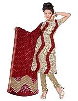 Kala Sanskruti Women's Cotton Satin Bandhani Light Brown Dress Material