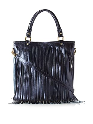 B-low the Belt Women's Twiggy Fringe Tote, Metallic Blue