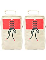 Set of 2 Shoe Bag with Printed Flap (Handmade From Canvas)