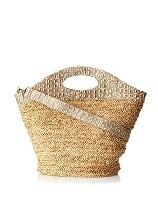 Florabella Women's Malta Woven Raffia Braid Handbag, Tea/Gold