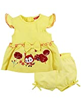 Embroidered Cap Sleeve Dress With Shorts - Yellow (24-36M)