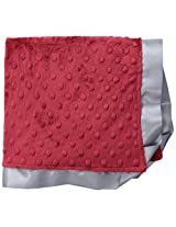 "Cozy Wozy Signature Minky Lovie Sized Baby Blanket with Satin Trim Lovie, Crimson/Silver, 18"" x 18"""