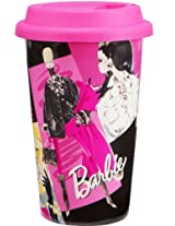 Vandor 95251 Barbie 12 oz Double Wall Ceramic Travel Mug with Silicone Lid, Pink, Black, and White