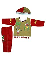 Boogie Woogie Bowo-11358-R Boy's Cotton Top & Bottom Set With Cap - (Red) - (Size - M)